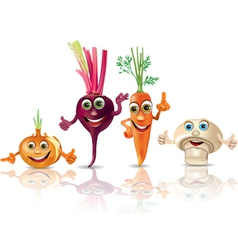 Funny vegetables onion beet carrot mushroom vector image vector image