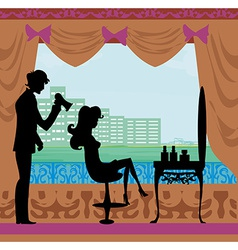 girl in hairdressing salon vector image vector image