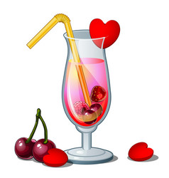 Glass of cocktail with straw hearts and cherry vector