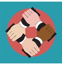 Hands holding each other showing unity vector image vector image