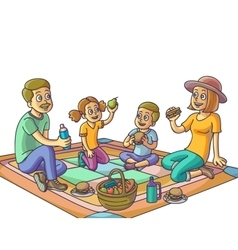 Happy family having a picnic in the park vector