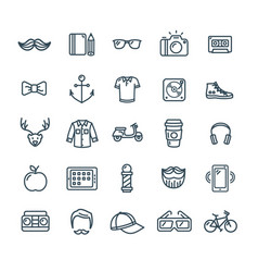 Hipster icon black thin line set vector