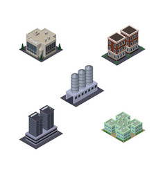Isometric building set of company clinic water vector