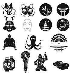 Japan icons set Japanese theme symbols vector image vector image
