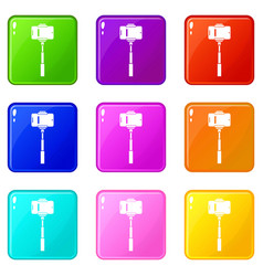 Mobile phone on a selfie stick icons 9 set vector