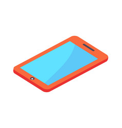 modern red digital tablet with blue screen vector image vector image