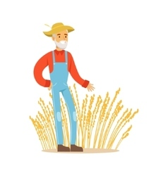 Old Man With Wheat Ear Crops Farmer Working At vector image vector image