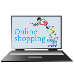 online shopping on the computer vector image