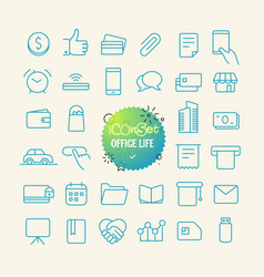 outline icon set web and mobile app thin line vector image vector image