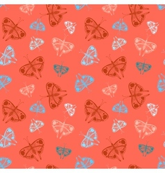 Pattern with colorful butterflies of random size vector