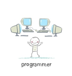 programmer worth around computers vector image
