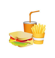 Sandwich fries french and soda food vector