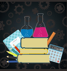 Science and education background with school vector
