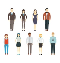 Set of young men and women wearing office clothes vector