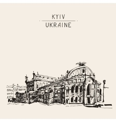Sketch drawing of ukraine kyiv national opera and vector