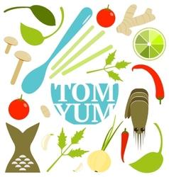 Tom yum soup food set vector