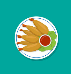 top view fried prawn on white plate vector image vector image