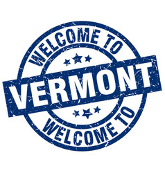 Welcome to vermont blue stamp vector