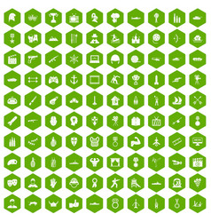 100 hero icons hexagon green vector