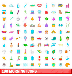 100 morning icons set cartoon style vector