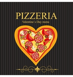 Pizza Menu Template on Valentines Day vector image