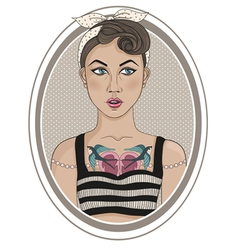 Cute rockabilly style fashion girl vector image