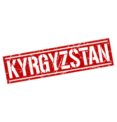 Kyrgyzstan red square stamp vector