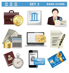 Bank icons set 2 vector
