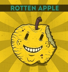 Funny cartoon malicious yellow monster apple vector
