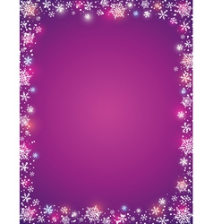 Violet background with frame of snowflakes vector