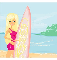 Beautiful surfer girl on a beach vector