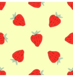 Seamless natural color pattern of red strawberries vector