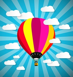 Colorful hot air balloon on blue sky with paper vector