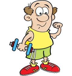 Cartoon man holding a dumbell vector