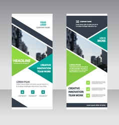 Green triangle business roll up banner template vector