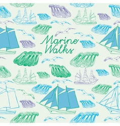Sea voyage seamless background vector