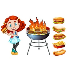 Girl and grill stove with food vector