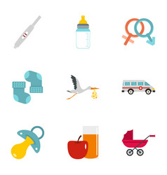 Baby ambulance icons set flat style vector