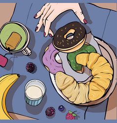 Breakfast top view square with luncheon healthy vector
