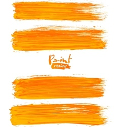 Bright orange acrylic brush strokes vector