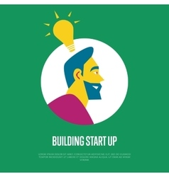 Building start up banner Side view of businessman vector image vector image