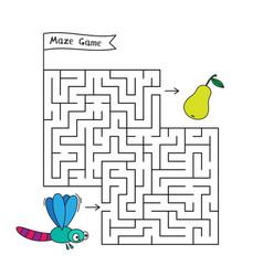 Cartoon dragonfly maze game vector