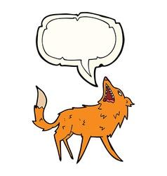 Cartoon snapping fox with speech bubble vector