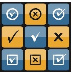 Checkbox set of hand drawn icons vector