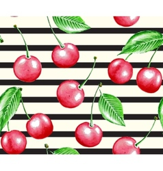 Cherry and line vector image vector image