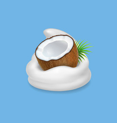 Coconut and yogurt fruit and wipped cream icon vector