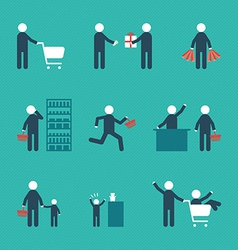 Concept people shopping with object bags basket vector