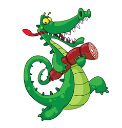 crocodile with sausage vector image