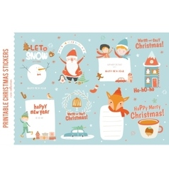 Cute christmas cards labels and stickers vector