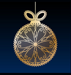 Decorative golden lace christmas ball toy on dark vector